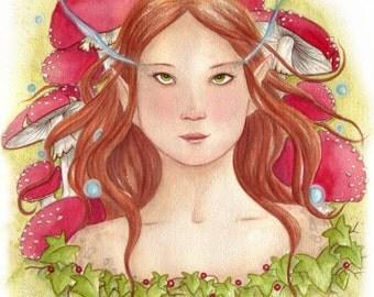 Original Watercolour Painting/Earth Spirit/Fairy Art/Original Painting/Fairy art/Toadstool/Woodland/Fly Argaric/Original Art