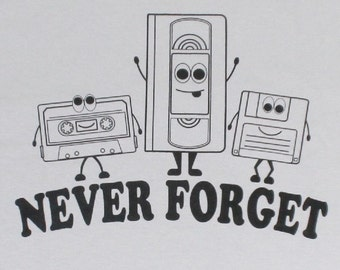Never Forget Retro VHS Floppy Disc Cassette Tape Funny Adult Mens Grey T-Shirt