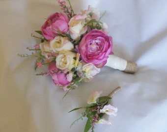 Peony Rose Bouquet Shabby Artificial Bouquet Pink Silk Flowers