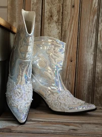 Bridal bling cowboy boots country bride hand made with for Wedding dress cowgirl boots