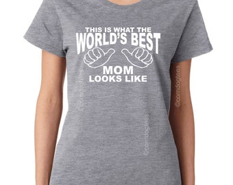 Christmas Gift Mom Personalized Gifts Womens Tshirt Wife Gift for Women Worlds Best Mom Shirt Mothers Day Gift for Mom Birthday Gift
