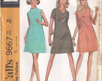 1969 Maternity Dress Pattern in Three Versions, McCalls 9667, Size 10