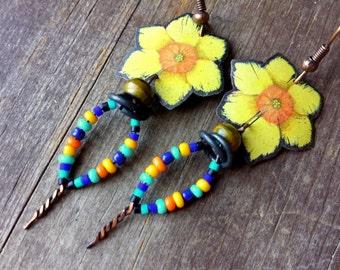 marigold earrings, flower tin earrings, flower child, hippy jewelry, eclectic unusual jewelry, dainty yellow earrings, beaded drop earrings