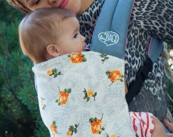 """Baby Carrier Double-sided / Reversible/ SSC/ Buckle Carrier/ Soft structured/ Ergonomic Sling / """"White roses + Disco Lights"""" Nap Bag by Bagy"""