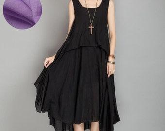 Black Cotton Plus Size Dress Summer Women Dress (408)#80694
