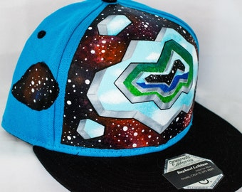 COSMIC WORMHOLE HAT! Hand-Painted, One-of-a-Kind Piece!!!