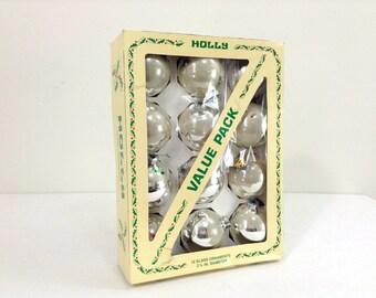 "A Dozen ""Holly"" Glass Christmas Ornaments"