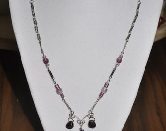 Upcycled Necklace Earrings Set Purple Silver Hand Wrought Wire Link #883