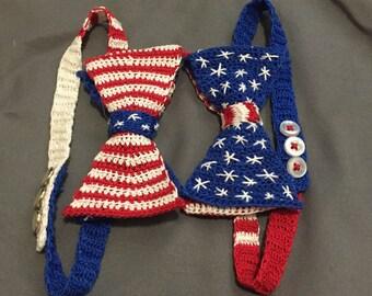 Handmade American Flag Crochet Bow Tie - Reversible!