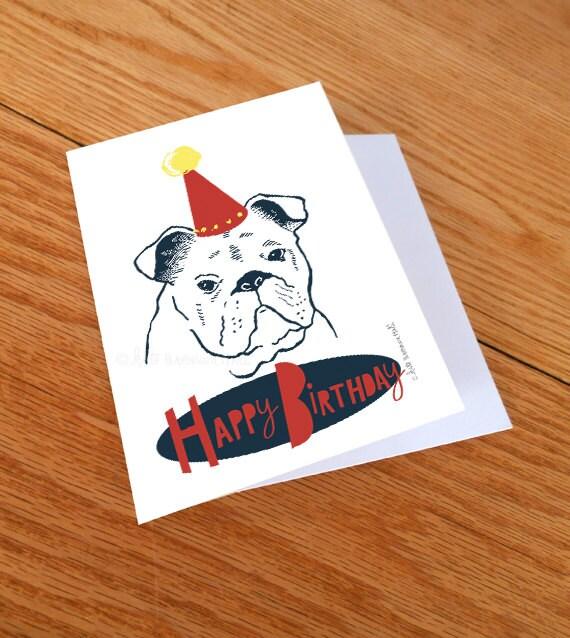 English Bulldog Happy Birthday Card By KateBrennanHall On Etsy