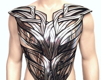 organic bust plate chrome futuristic front plate armour