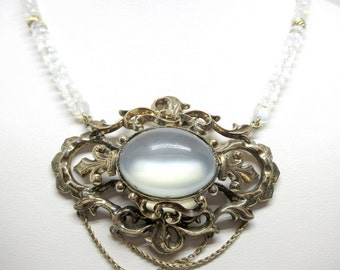 10k Moonstone antique filigree necklace in yellow gold