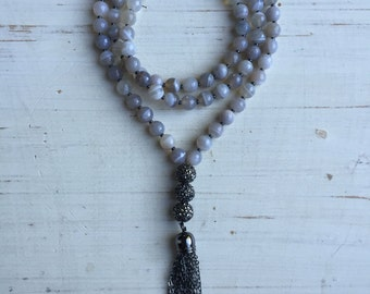 Gray Stripe Agate and Hematite Gunmetal Chain Tassel Necklace with Pave Crystal Gunmetal Ball