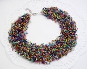 Colored Necklace multistrand choker rainbow seed Beads air mixed colorful jewelry velvet choker 'Sea stones' rainbow bridesmaid funny gift