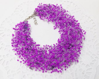 Bridal party gifts wedding jewelry amethyst necklace purple jewelry illusion necklace Purple necklace Violet necklace flower girl jewelry