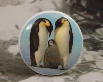 """1-1/2"""" Penguin Dresser Knobs - Cuddly Penguin Family - Penguin Knobs"""