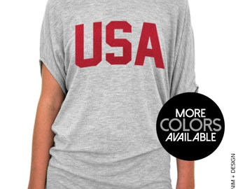 USA Gray or White Slouchy Tee Red Ink - Patriotic 4th of July Slouchy T-Shirt, America Shirt, United States Shirt, BBQ Shirt, Drinking Party