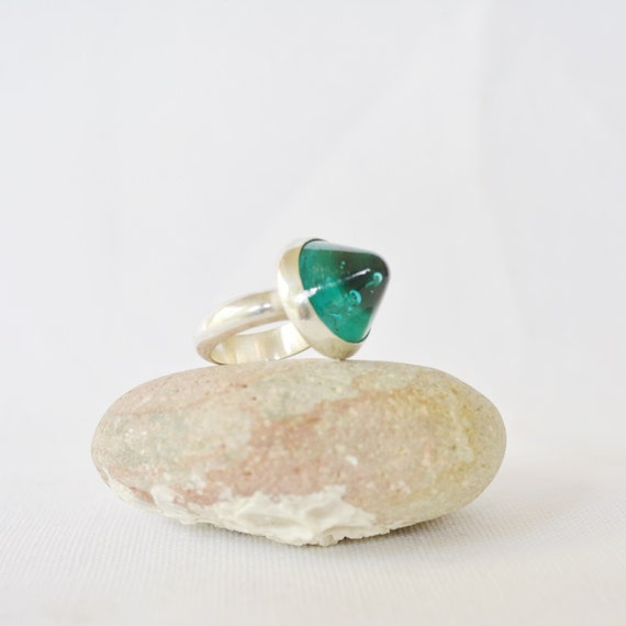 Teal Glass Statement Ring from Shelby Fonley