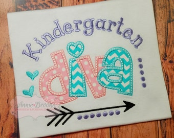 Girls Back to School Shirt, - Personalized Back to Back to School Shirt, - Kindergarten Diva Shirt