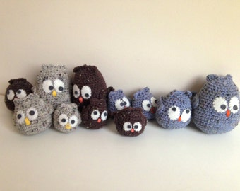 Family of owls in hook (4 pieces)