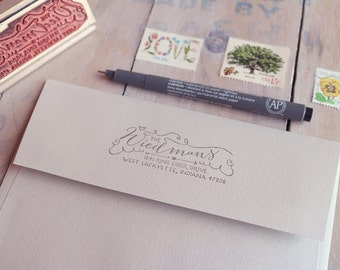 "Calligraphy Return Address Stamp - Hand Drawn Stamp - Whimsical and Personalized Housewarming Gift - 1"" x 3"" - Mia"