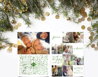 Woodland Photo Christmas Cards - Floral Whimsical Collage - Woodsy Watercolor Greeting Cards - Printable or Printed - Ivy