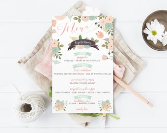 Floral Wedding Menus - Peach and Mint Boho Watercolor Menu Cards - Printable or Printed
