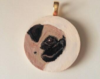 PUG Pendant Ooak Hand painted wearable Art Pug lover gift