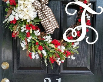 Extra Large Grapevine Wreath Hydrangeas Personalized Monogram Initial Burlap Ribbon Spring Summer Mothers Day Wedding Year Round Door Decor