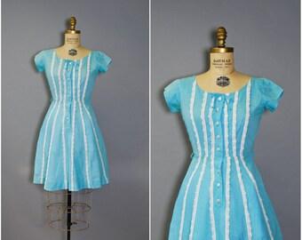 1950's Gingham Dress//Blue Day Dress//50's Cotton Gingham Dress