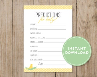 Printable Baby Prediction Card. Baby Shower game. Gender Prediction game. Gender Neutral. Instant Download. Yellow baby shower. DIY