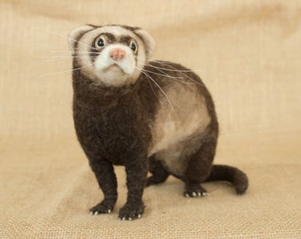 Made to Order Needle Felted Ferret: Custom needle felted animal sculpture