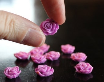 10 resin rose cabochons, 13 x 5 mm, lilac, perfect for post earrings