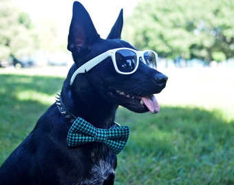 Dog Bow Tie in Turquoise Wedding Polka Dot Doggie Accessory - Dog Bow Tie Only, Collar NOT Included