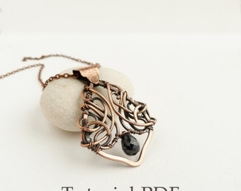 Tutorial jewelry DIY project - Leaf bail symmetrical necklace - Copper soldering - Wire wrapped necklace tutorial