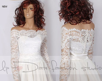Plus Size lace Bridal Off-Shoulder / Lace wedding jacket/ Bolero shrug/  jacket /bridal lace top