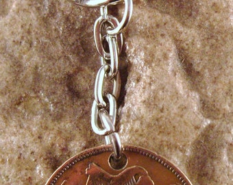 1935 1/2d Half Penny Leath Phingin Irish Coin Keyring Key Chain Fob 81st Birthday