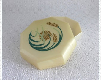 Vintage Powder Box, Merle Norman, Pearlescent Plastic, Ecru Floral Wheat Design, Two Tone Octagonal, Vanity Dresser Decor, Storage Container