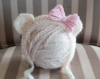 Mohair bear bonnet. Newborn boy or girl. Photo prop.