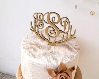 Monogram wedding cake topper, deer antler cake topper, rustic wedding cake topper, wooden antler cake topper