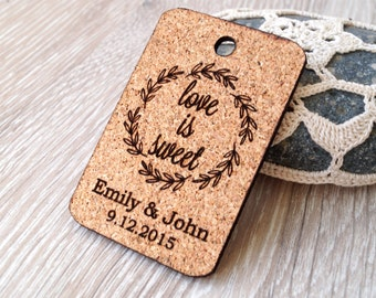 Love is sweet personalized wedding favor tags, rustic wedding favors, cork heart tags, wedding thank you tags, custom cork tags, set of 25