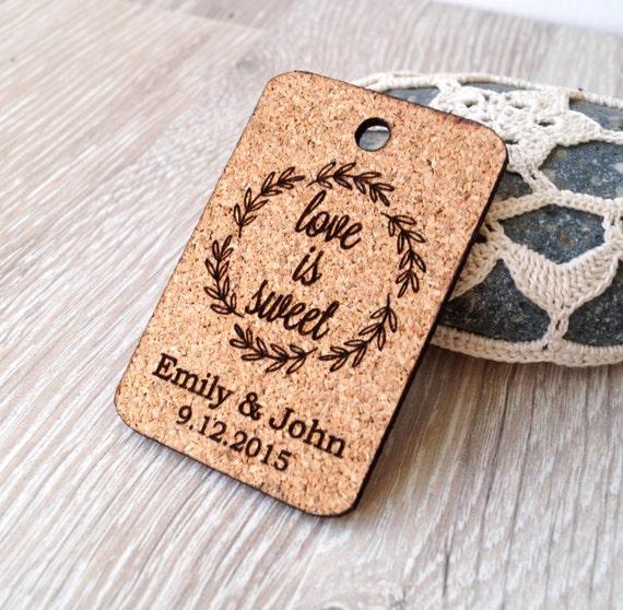 Wedding Favor Tags Rustic : wedding favor tags, rustic wedding favors, cork heart tags, wedding ...