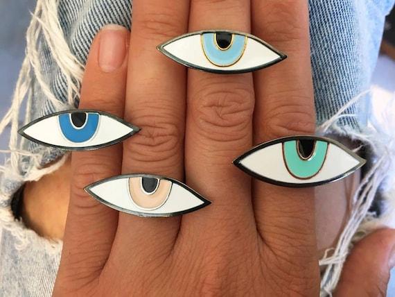 Eye enamel ring adjustable size silver 925, eye enamel ring silver 925, woman eye enamel ring silver 925