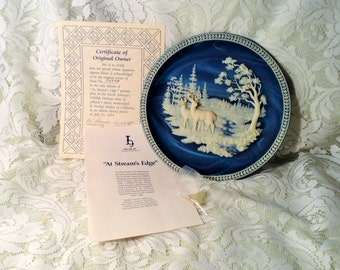 "Deer Incolay Collector Plate - New Wrapped in Box - ""At Stream's Edge"" - 1st Issue in North America's Wildlife Collection"