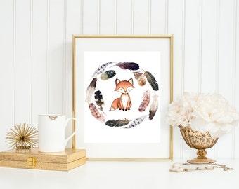 Fox Art Print, Fox Nursery Decor with Feather Wreath, Tribal Art Print