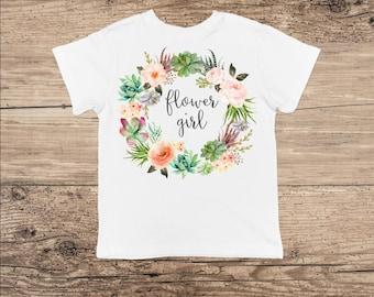 Flower Girl T Shirt, Flower Wreath Bodysuit Boho Wedding