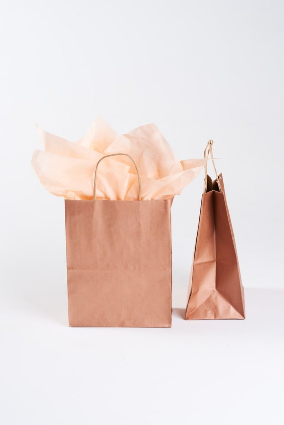20 Metallic Rose Gold Gift Bags With Handles Size By SoireeSupply