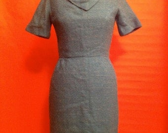 60s Wool Boucle Turquoise Dress