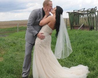 "Fingertip veil with 1/8"" corded satin trim, Single layer, satin cord trim, Bridal veil, ivory veil, single tier."
