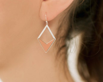 Triangle Earrings, Laminate, Colorful, Tribal Inspired, Minimalist Earrings, Terracotta earrings